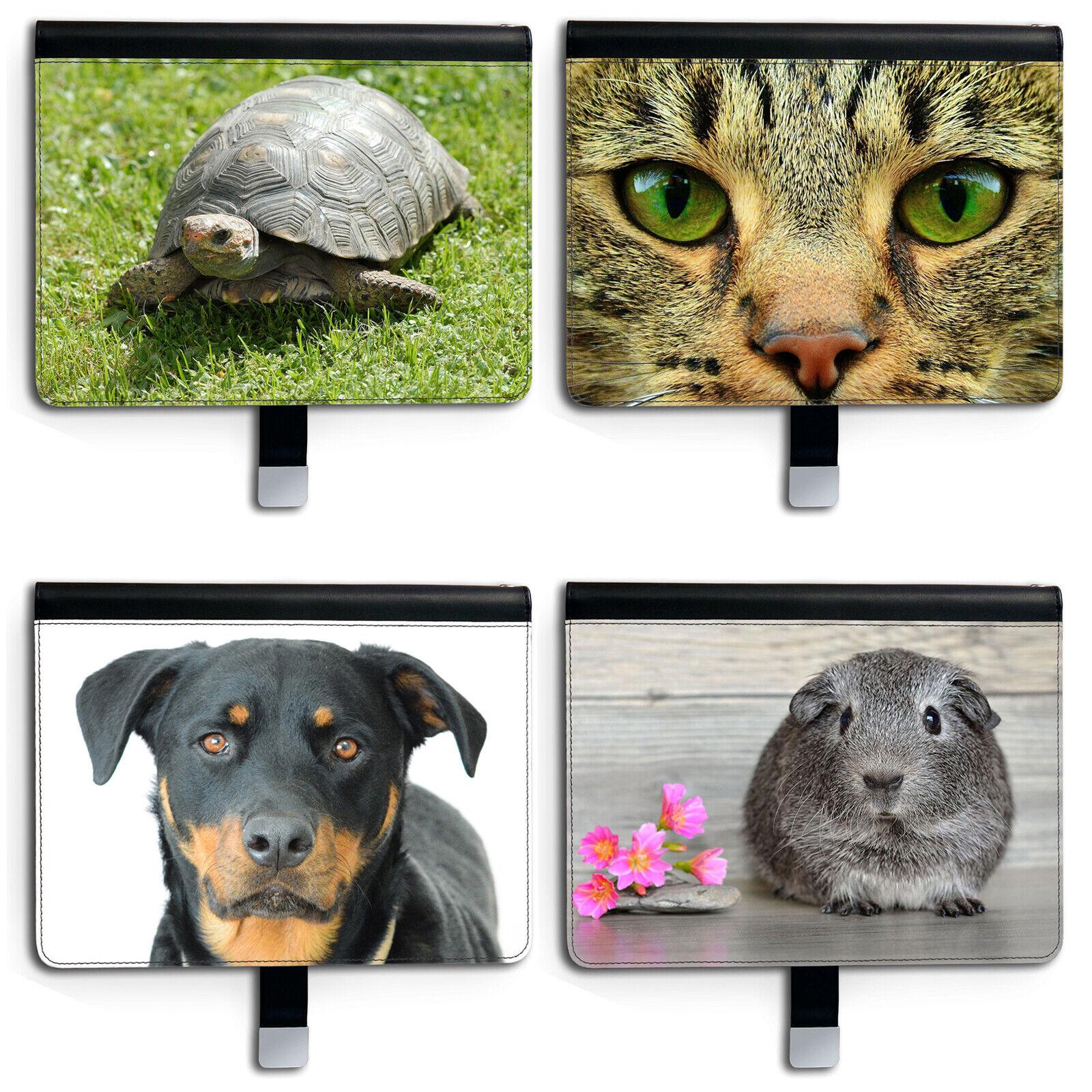 Hund Katze Leder Tablet Schutzhülle,360 Drehgelenk Flip Schutzhülle für Apple