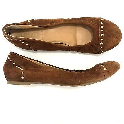 Used, J Crew Cece Studded Suede Ballet Flats Sz 8 Camel Brown Leather Item 49216 for sale  Dayton