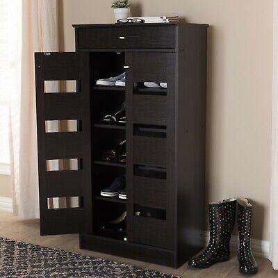 Tall Shoe Storage Cabinet With Doors Entryway Foyer 5 Shelf & Drawer Hallway Tall Storage Drawer