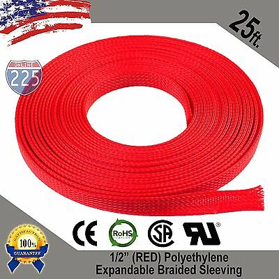 25 Ft 12 Red Expandable Wire Cable Sleeving Sheathing Braided Loom Tubing Us