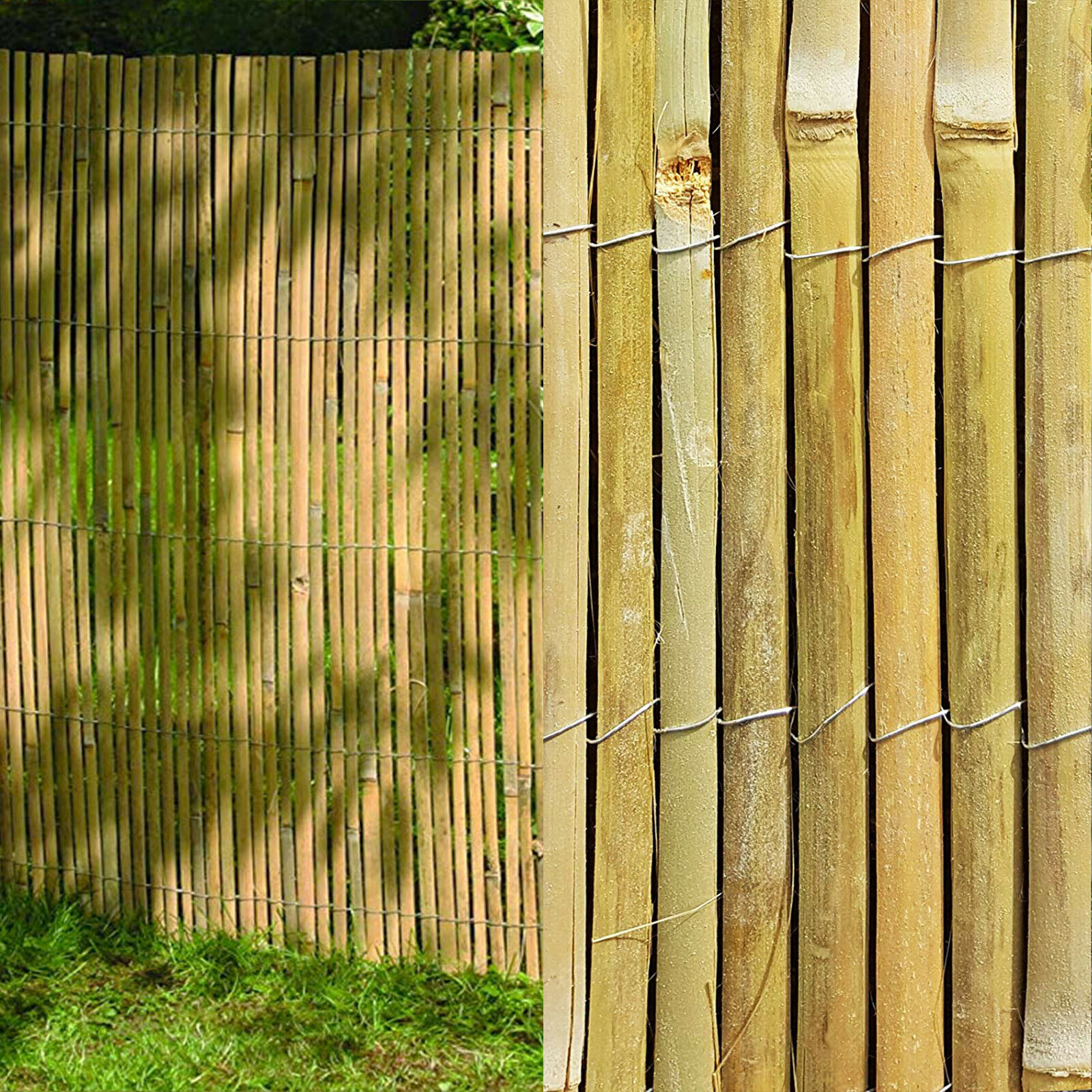 4m Slatted Bamboo Fence Screening Roll Natural Slat Panel Privacy Garden Penal Ebay