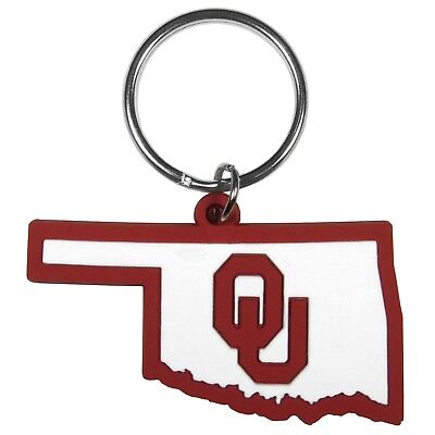 Ncaa Keychain Ring - NCAA Oklahoma Sooners Home State Flexi Keychain Key Chain Key Ring Auto Car