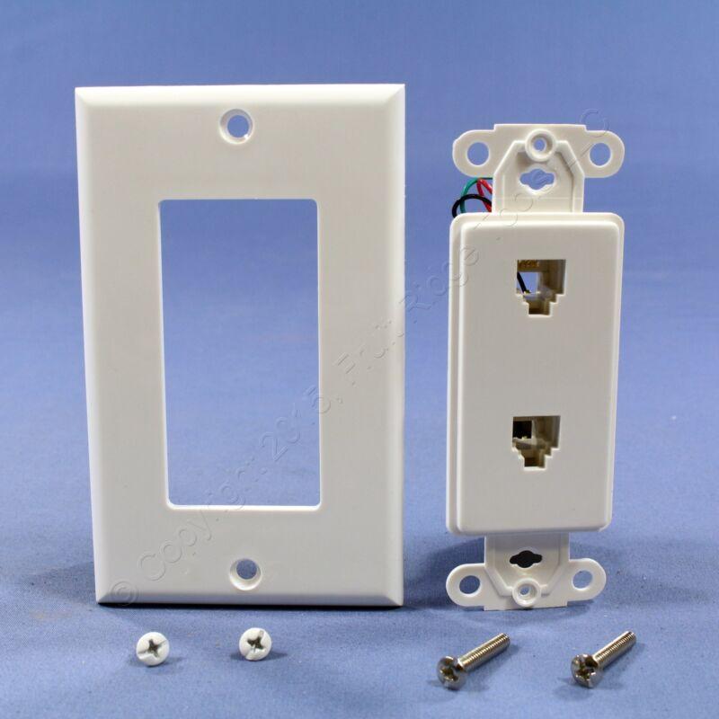 Leviton White Decora DUAL Telephone Wall Plate DUPLEX Phone Jack C2447-W