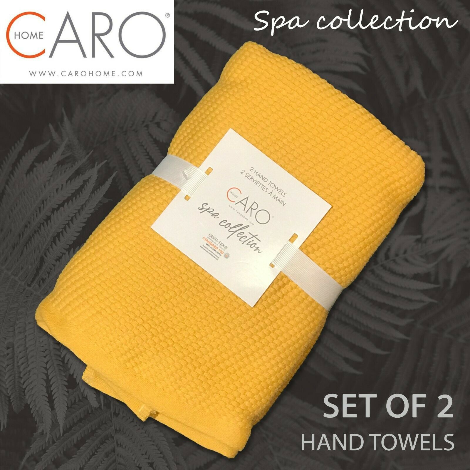 2-PK New CARO HOME Spa Collection Hand Towels Soft Absorbent