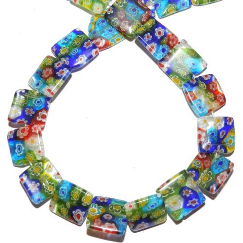 "G4051  Mosaic Multi-Color Flower 14mm Flat Square Millefiori Glass Beads 14"""