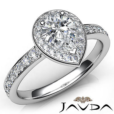 Cathedral Halo Pave Set Pear Cut Diamond Engagement Ring GIA Color F VS1 1.17Ct