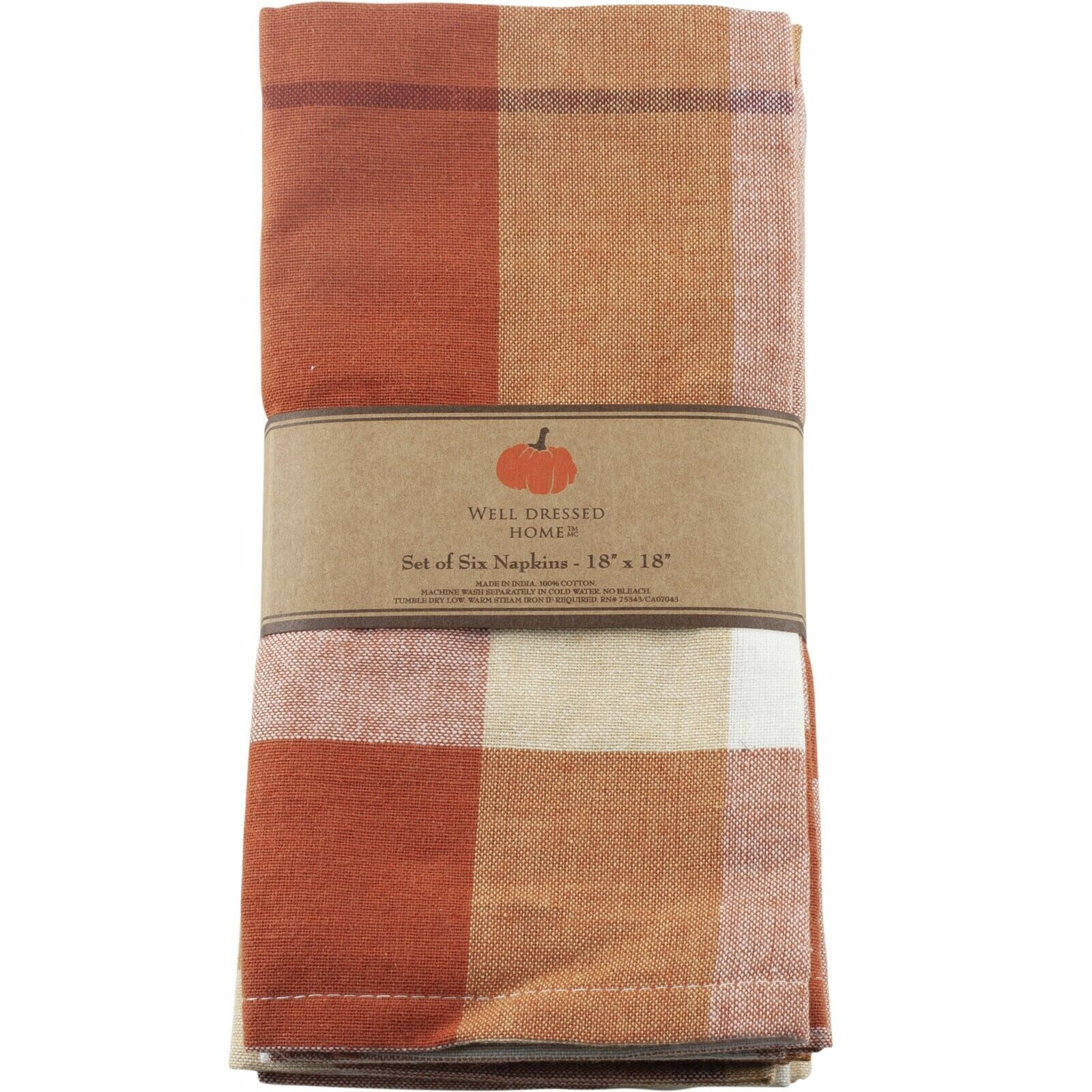 Details about Well Dressed Home Fall Autumn Leaves Cloth Napkins Set of 6 Orange Plaid Brown