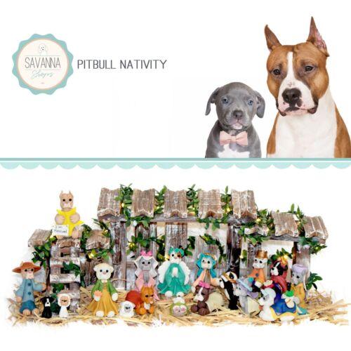 SAVANNASHOPS Dog Nativity Pitbull Gifts - Nativity Sets - Pit Bull Lover Gifts