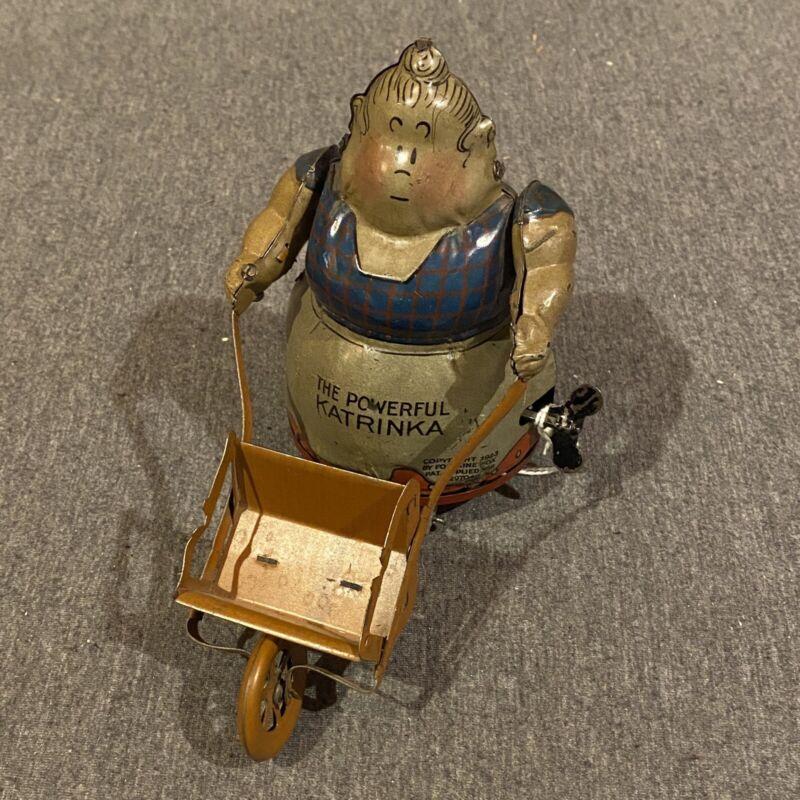 The Powerful Katrinka - Fontaine Fox - 1923 - Toonerville Windup Antique Tin Toy