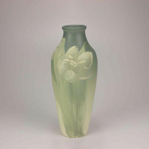 Weller Pottery Hudson Gray on Gray Vase, Hand Painted Tulips