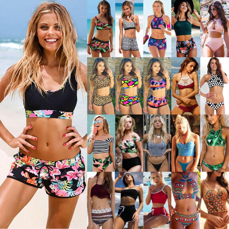 Damen Crop Top Sommer Bikini Set Badeanzug Bademode Boyshorts Sport Schwimmanzug