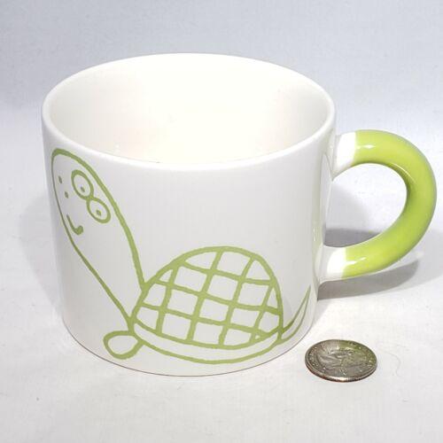 AIWA Co. Ltd White Mug Cup Lime Green Turtle and Handle #10 Made in Japan EUC