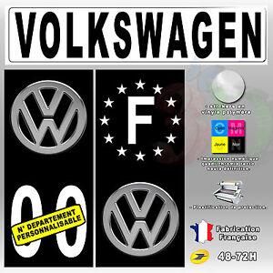 stickers plaque d 39 immatriculation fond noir logo volkswagen 4 pi ces 45x100 mm ebay. Black Bedroom Furniture Sets. Home Design Ideas