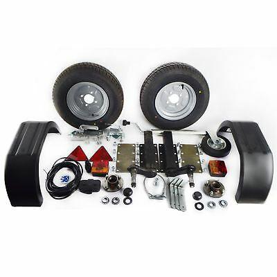 750Kg Trailer Kit Suspension Units Hitch Lights Mudguards Towing 5m Cable Whee