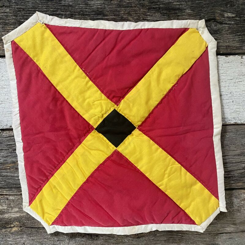 Gee's Bend Hand Quilted Table Top Doley Guaranteed Authenticity Red/Yellow 16x16
