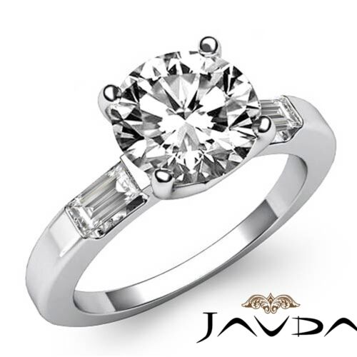 1.8ct Round Baguette Cut Diamond Three Stone Engagement Ring GIA F VS2 Platinum