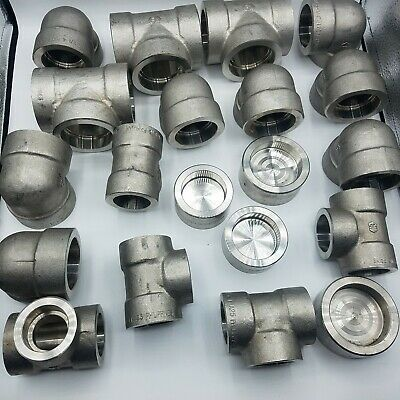 Large Lot Enlin Stainless Steel Pipe Fittings. 20 Pipe Fittings