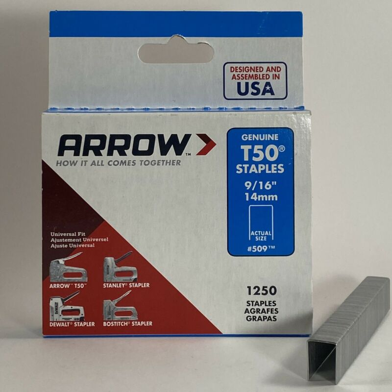 Arrow T50 9/16 in. (14mm) Genuine Staple Gun Staples / Fasteners #509 - 1250 pk