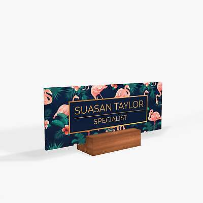 Flamingo Bird Tropical Flowers Name Plate For Desk With Wood Base Decor Nameplat
