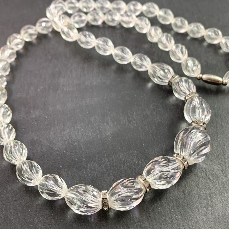"""VINTAGE BEAD NECKLACE LUCITE PLASTIC BEADED CLEAR RHINESTONE 30"""" LONG"""