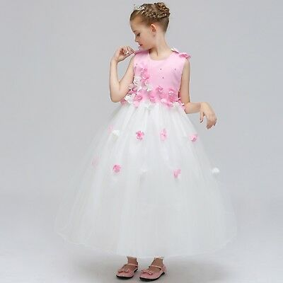 Beautiful Girls Dresses Gowns (2018 Beautiful Girls Flower Dress Kids Pink Wedding Princess Bridesmaid Gown)