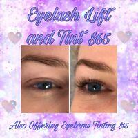 Eyelash lift and tint.  Brow tint