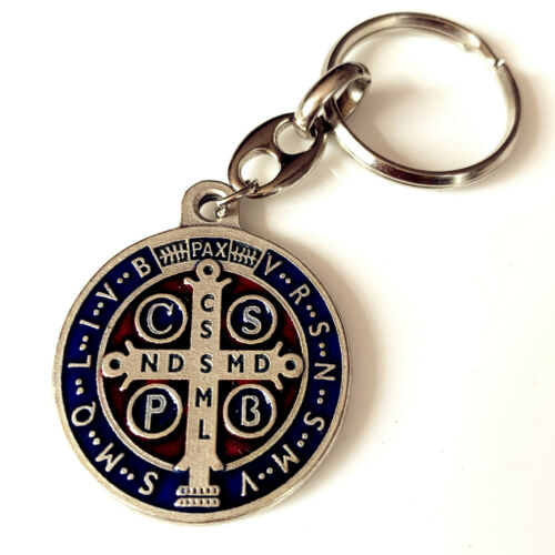 """Holy Lager 1.3"""" Silver Catholic St.Benedict medal Key Chain From Italy"""