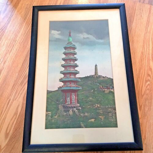 Antique Japanese Silk Needlepoint Embroidery of Towering Pagodas.
