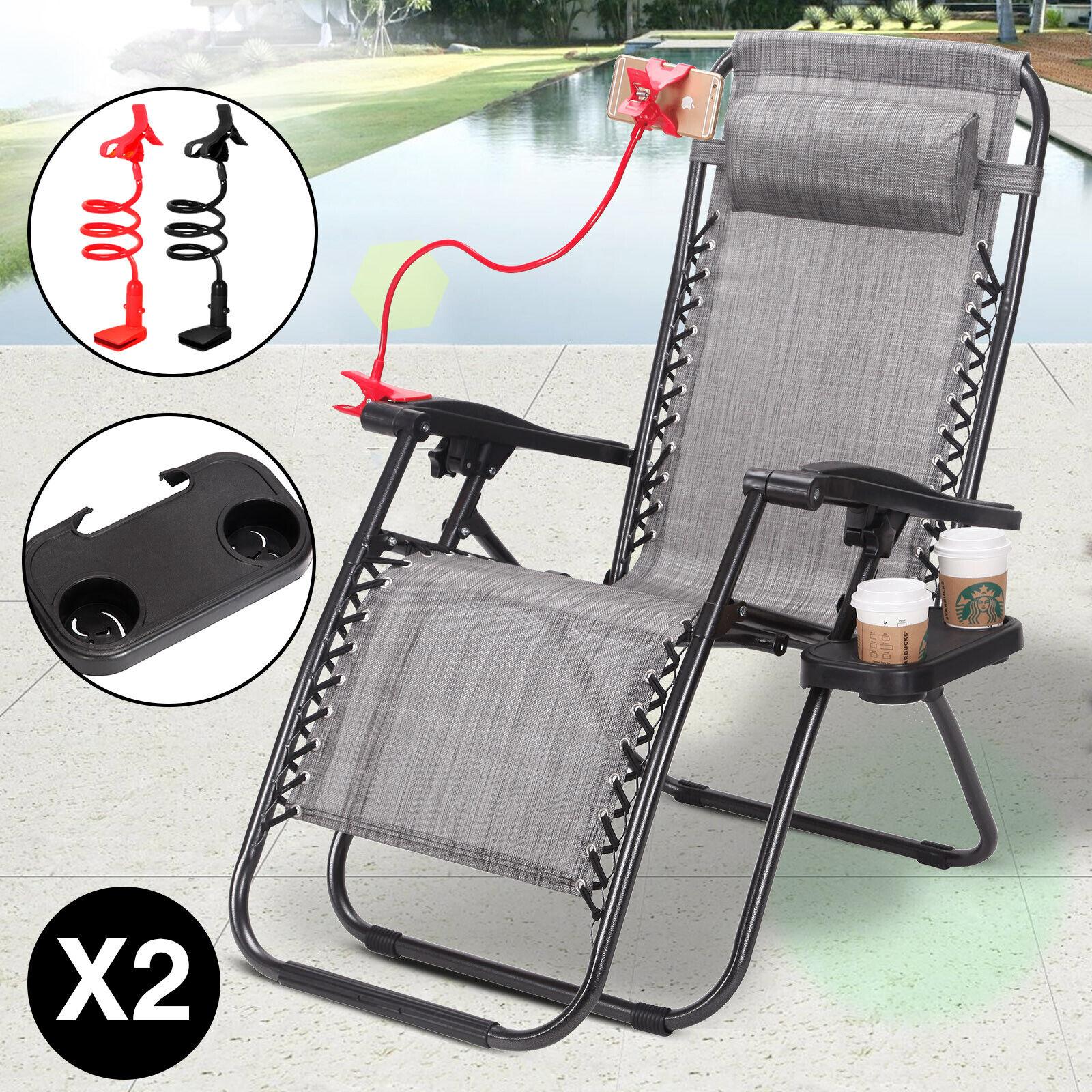 2 Zero Gravity Chairs Folding Patio Lounge Recliner Deck Bea