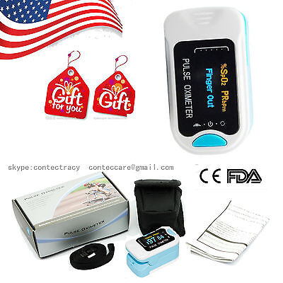 Us Sale Oled Finger Pulse Oximeter Blood Oxygen Spo2 Monitorhear Ratesky Blue