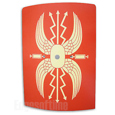 WOODEN ROMAN SOLDIER GLADIATOR RED SHIELD 37CM ROLE PLAY TOY WITH HAND GRIP