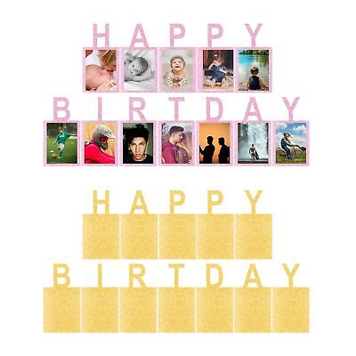 Glitter Happy Birthday Letter Photograph Banner Bunting Party Room Decoration UK ()