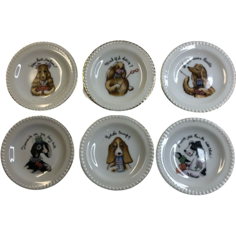 Vintage Group of 6 Ardalt Japan Dogs Playing Cards Porcelain Miniature Plates