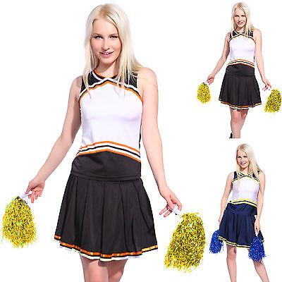 High School Cheer Girl Top Skirt Panty Glee Cheerleader DIY Print Uniform Pompom](Diy Woman Costumes)