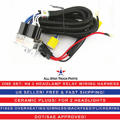 2-Headlight H4 Headlamp Light Bulb Ceramic Socket Plugs Relay Wiring Harness Kit