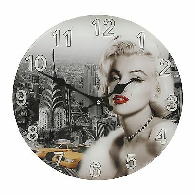 Iconic Marilyn Monroe Glass Wall Clock - New York Skyline Background