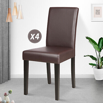 Set of 4 Leather Dining Chair Modern Home Kitchen Dining Room Furniture Brown 4 Brown Leather Chairs