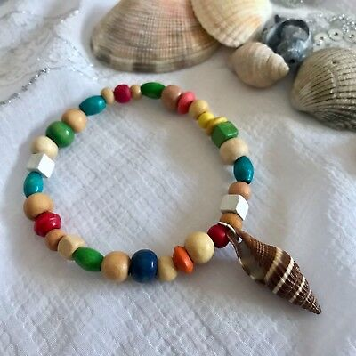 New Sea Shell Charm Bracelet ~ Gift Idea ~ Stretchy ~ Surfer Beach Theme ~ wood (Sea Theme Ideas)