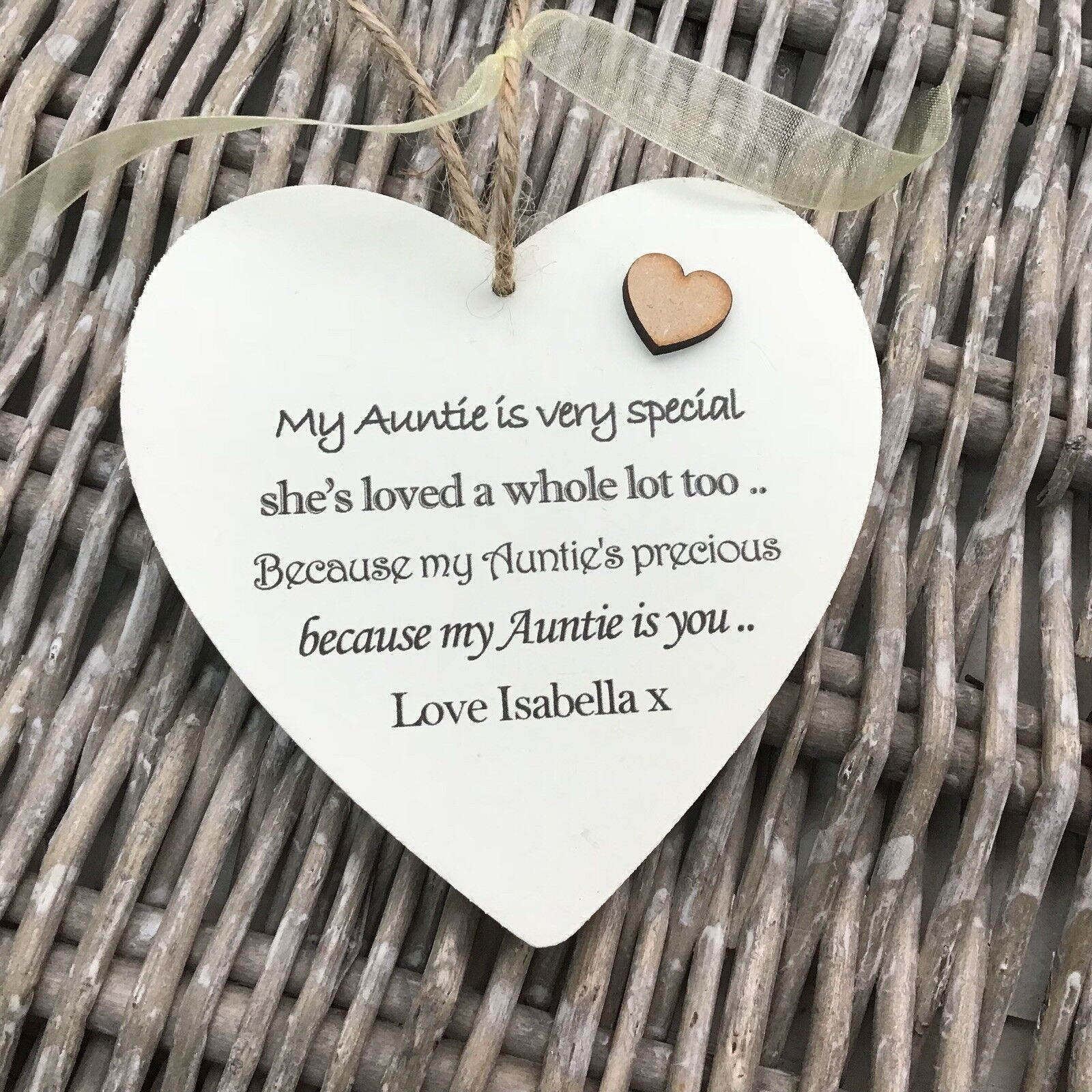 Shabby personalised Gift Chic Heart Plaque Special Auntie Aunty Great Aunt Gift - 332885838324