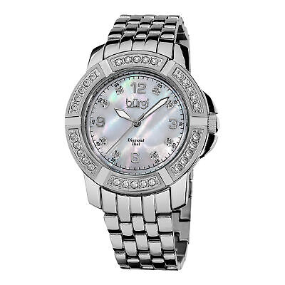 Women's Burgi BUR069SS Crystal Bezel Mother of Pearl Diamond Dial Swiss Watch