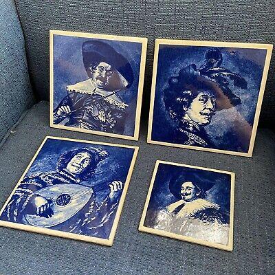 Original Vintage Retro Blue And White Tiles Ceramic Musicians