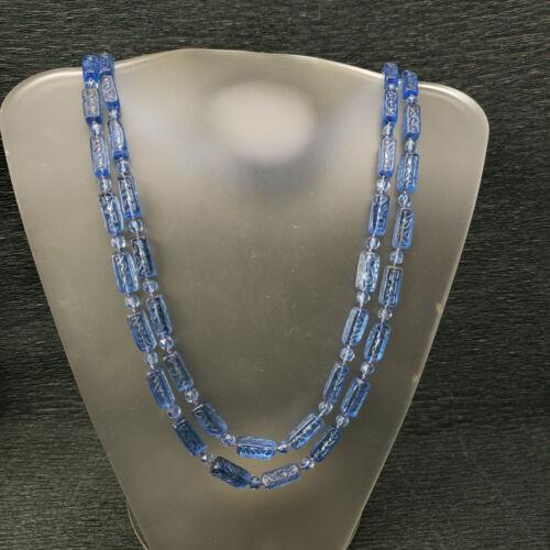 "Vintage Neiger ? Transparent Blue Glass Bead Knotted Necklace 48"""