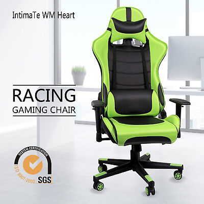 Executive Racing Gaming Chair Office Computer Chair Swivel Leather Green