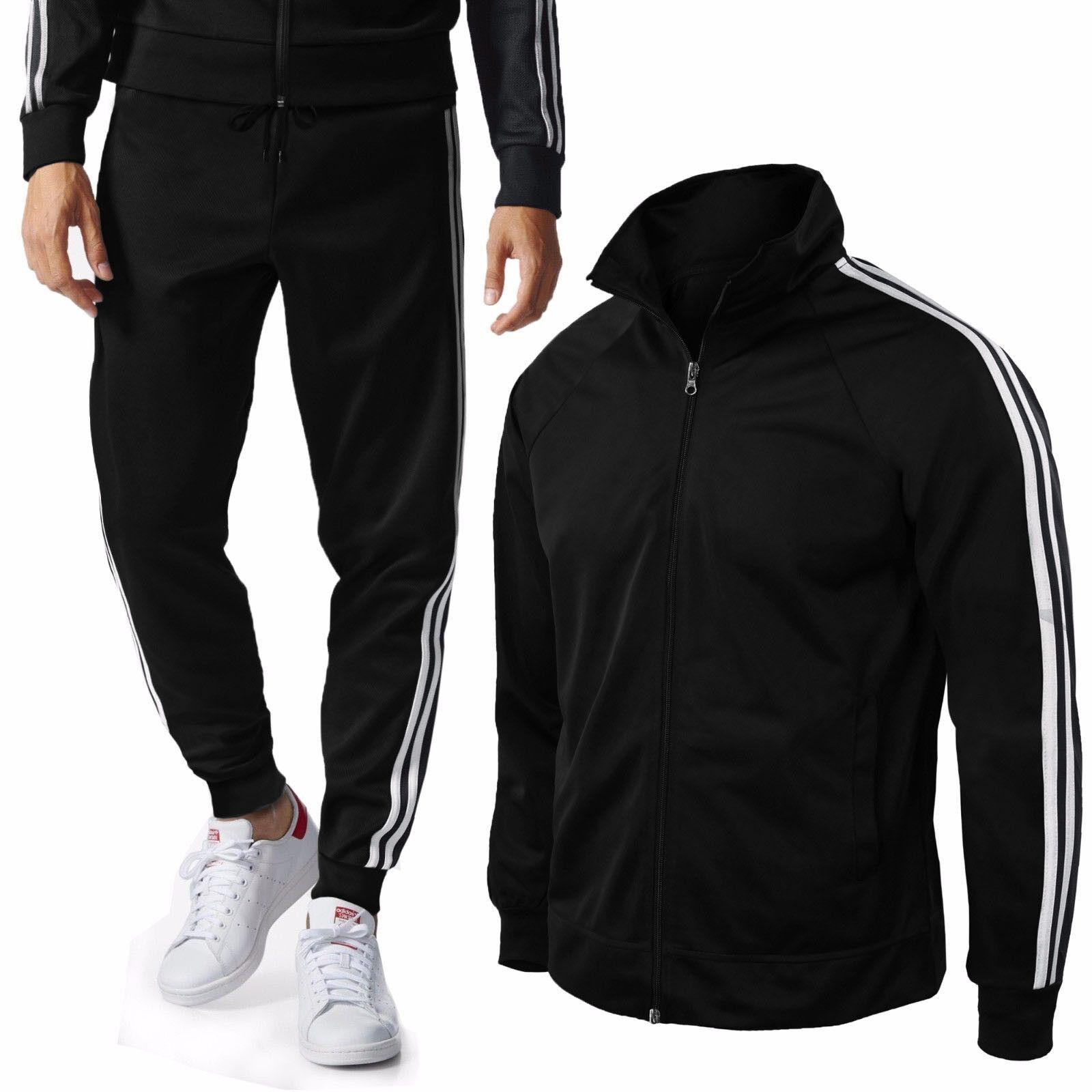 Tuta Uomo Felpa / Maglia + Pantaloni Basic Sport Fitness Casual Righe Cappuccio