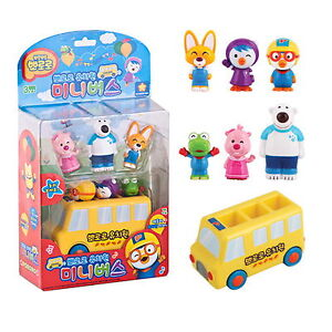 Pororo & Friends Mini School Kindergarten Bus 6 X Figures Sound Korean Toy Gift