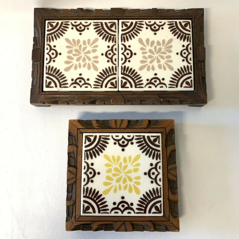DAL-TILE 26-A and ORION 8 & 9 Mexican Tile and Wood Footed Trivits BOHO World