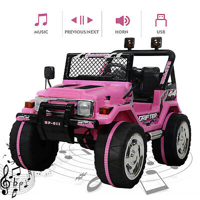 12V Kids Ride On Truck Car w/ Remote Control LED Lights 3 Speeds w/ Music Pink ()