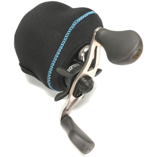 Fish KDS Low Profile Casting Neoprene Reel Cover - Black and Light Blue