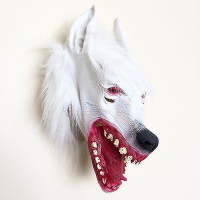 New WEREWOLF LATEX MASK  [White] FULL HEAD, HALLOWEEN FANCY DRESS SCARY UK