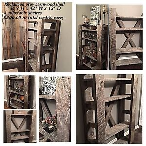 Many handcrafted barnwood furniture & decor items